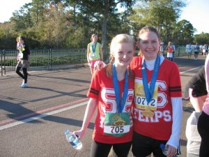 Megan and I after the Disney Princess Half Marathon a few years back (pre kids for her and pre-marriage for me (Andrew and I were engaged at the time)